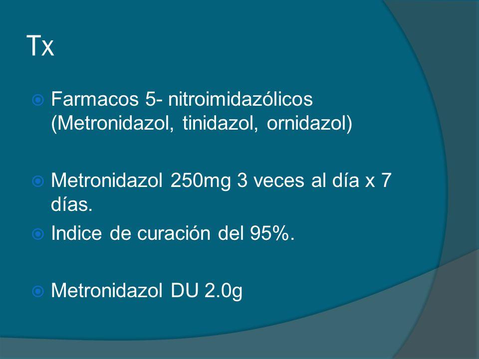 Tx Farmacos 5- nitroimidazólicos (Metronidazol, tinidazol, ornidazol)