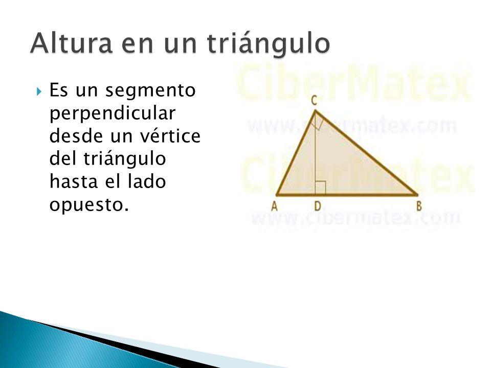 Altura en un triángulo Es un segmento perpendicular desde un vértice del triángulo hasta el lado opuesto.