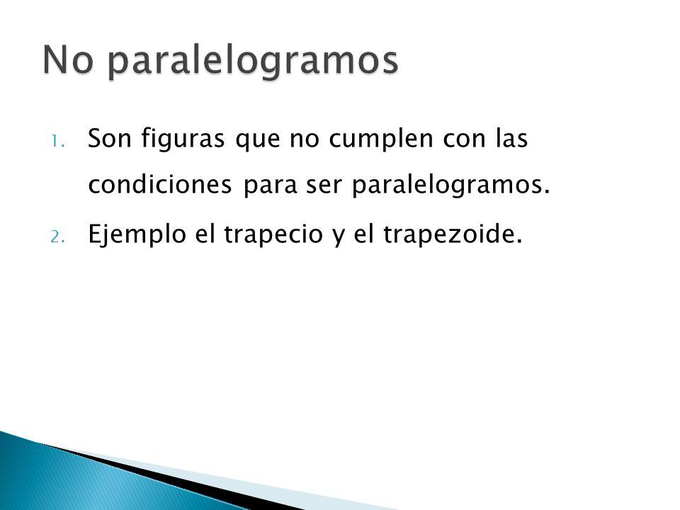 No paralelogramos Son figuras que no cumplen con las condiciones para ser paralelogramos.