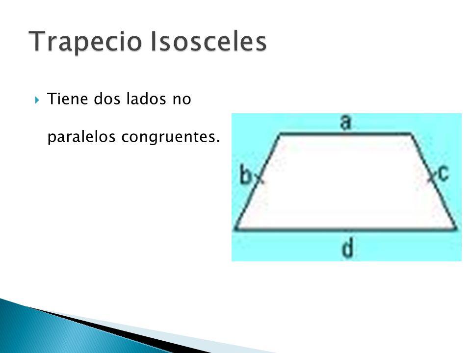 Trapecio Isosceles Tiene dos lados no paralelos congruentes.