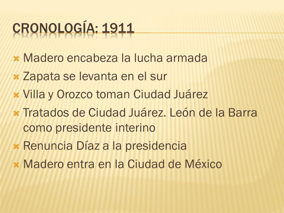 CRONOLOGÍA: 1911 Madero encabeza la lucha armada