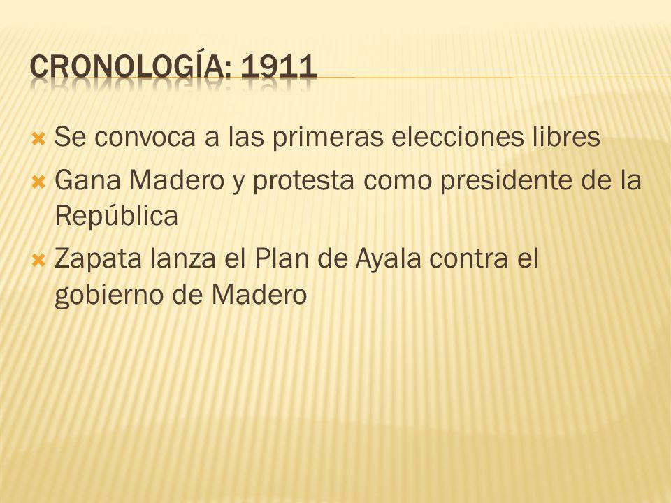 CRONOLOGÍA: 1911 Se convoca a las primeras elecciones libres