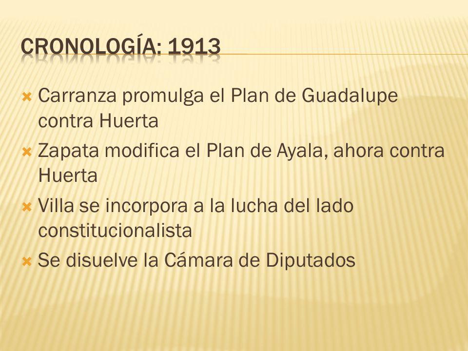CRONOLOGÍA: 1913 Carranza promulga el Plan de Guadalupe contra Huerta