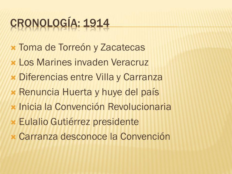 CRONOLOGÍA: 1914 Toma de Torreón y Zacatecas