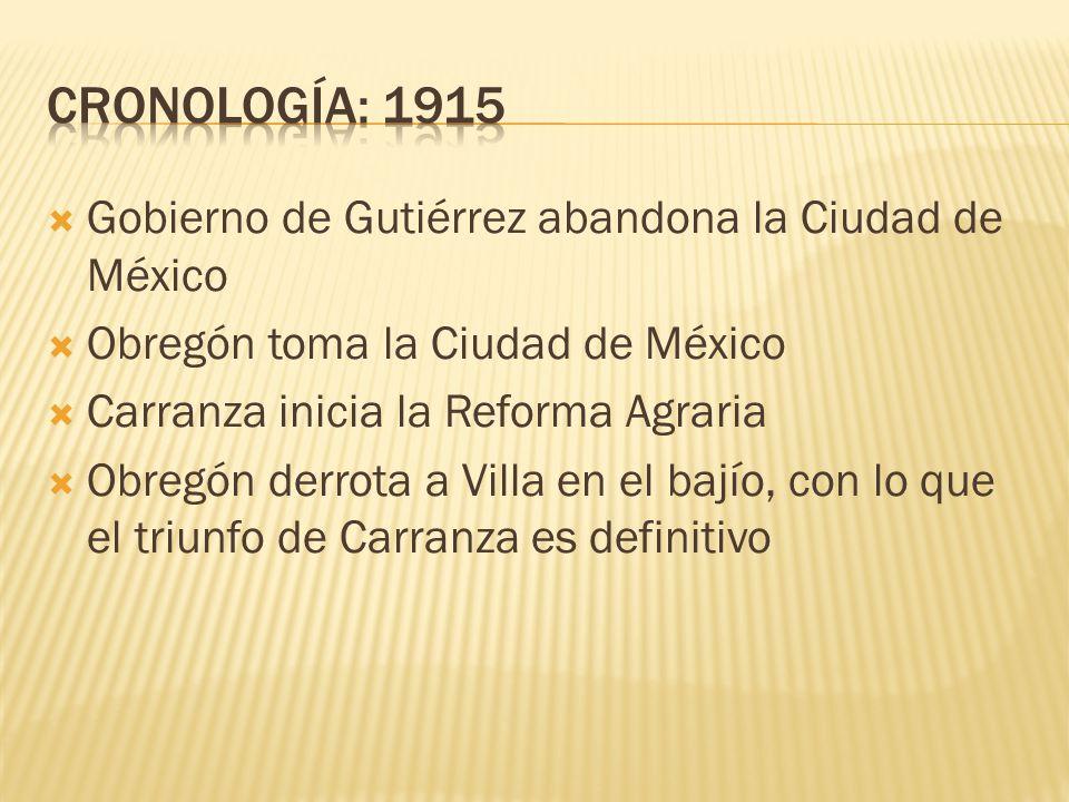 CRONOLOGÍA: 1915 Gobierno de Gutiérrez abandona la Ciudad de México