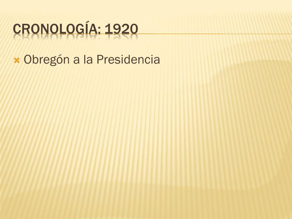CRONOLOGÍA: 1920 Obregón a la Presidencia