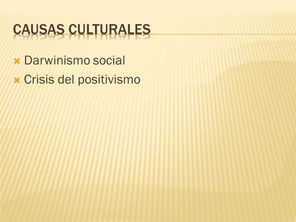 CAUSAS CULTURALES Darwinismo social Crisis del positivismo