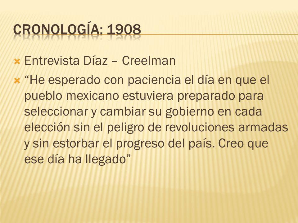 CRONOLOGÍA: 1908 Entrevista Díaz – Creelman