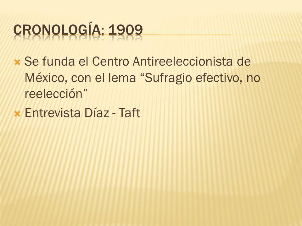 CRONOLOGÍA: 1909 Se funda el Centro Antireeleccionista de México, con el lema Sufragio efectivo, no reelección