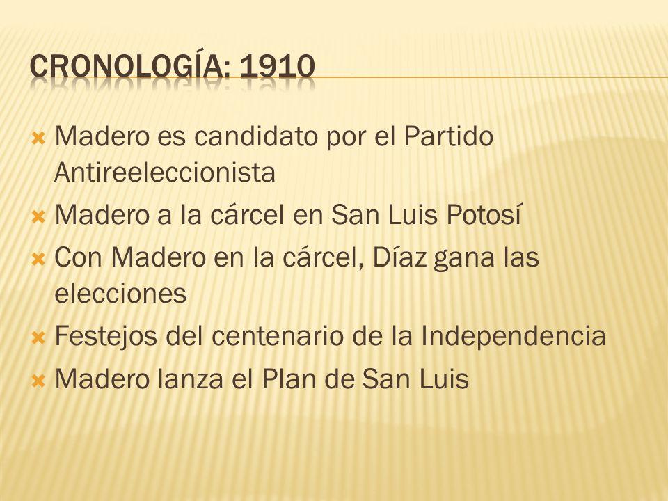 CRONOLOGÍA: 1910 Madero es candidato por el Partido Antireeleccionista