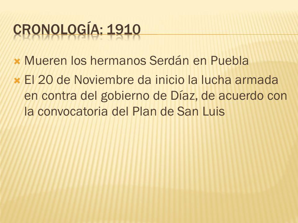 CRONOLOGÍA: 1910 Mueren los hermanos Serdán en Puebla