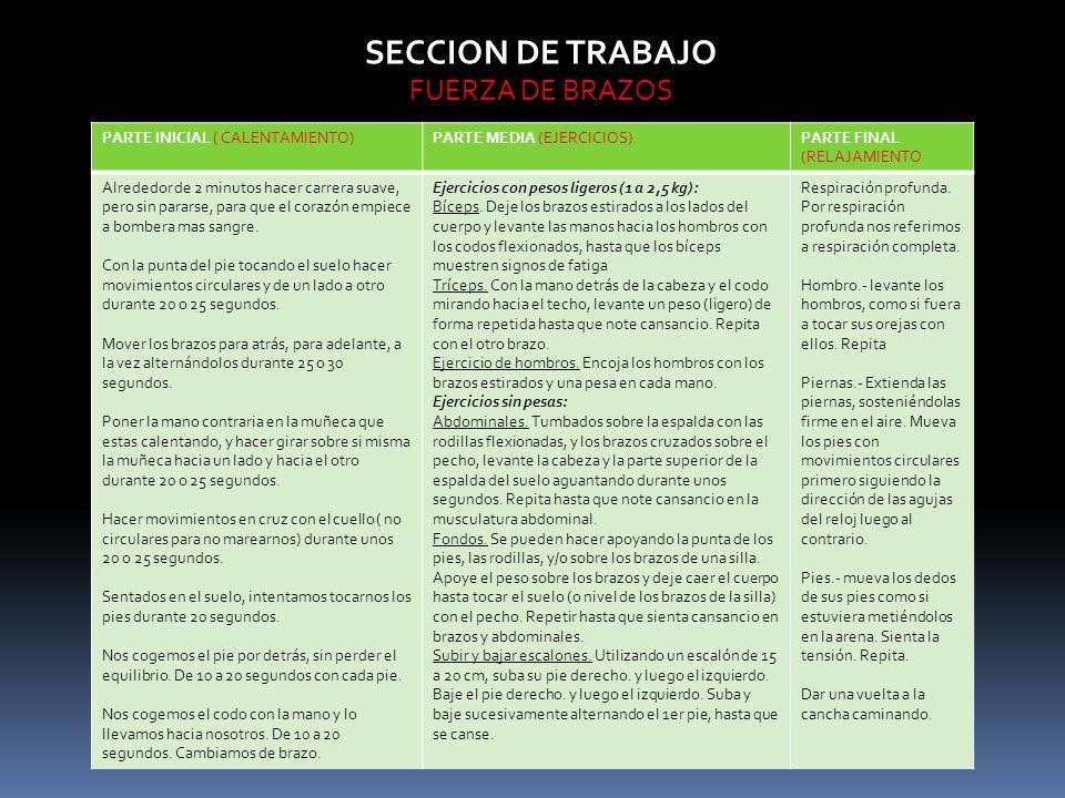 SECCION DE TRABAJO FUERZA DE BRAZOS PARTE INICIAL ( CALENTAMIENTO)