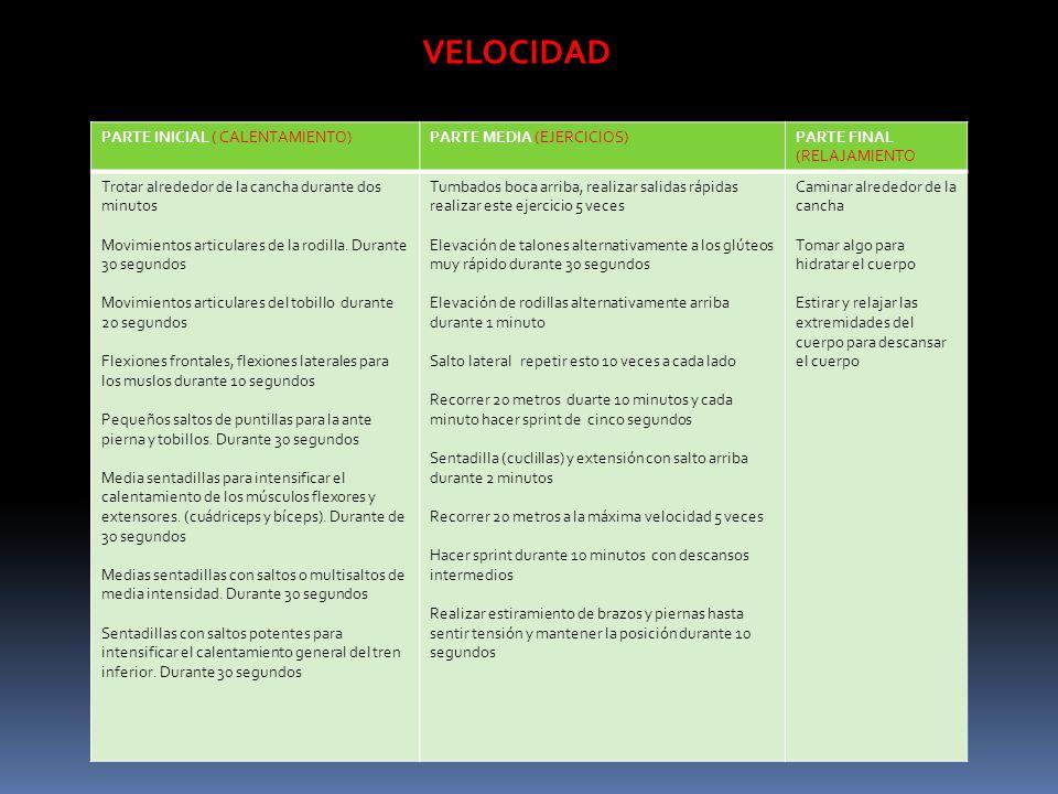 VELOCIDAD PARTE INICIAL ( CALENTAMIENTO) PARTE MEDIA (EJERCICIOS)