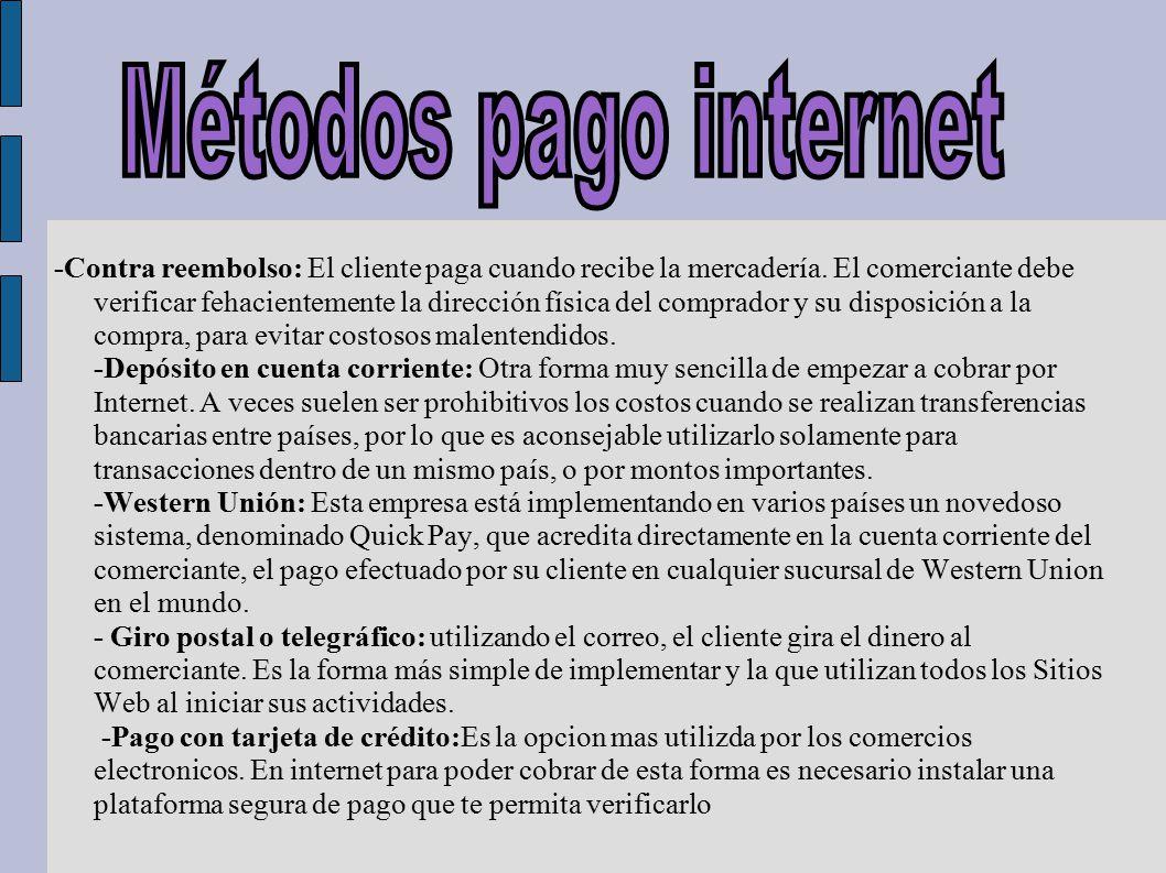 Métodos pago internet
