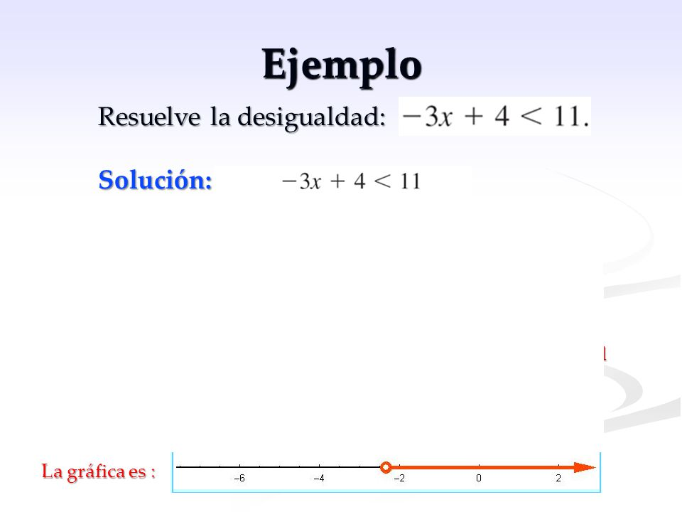 Ejemplo Resuelve la desigualdad: Solución: , como desigualdad