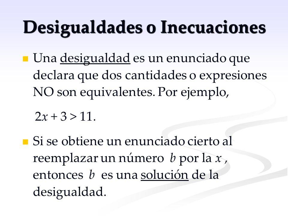 Desigualdades o Inecuaciones