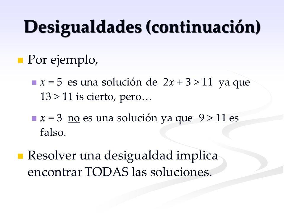 Desigualdades (continuación)