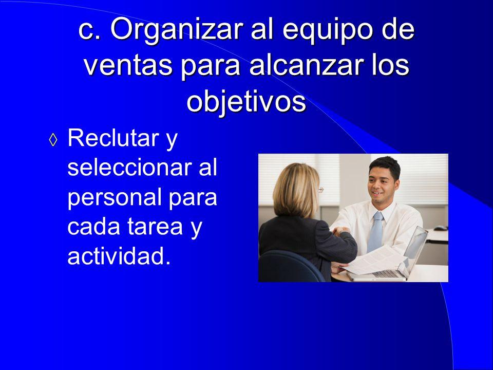 c. Organizar al equipo de ventas para alcanzar los objetivos
