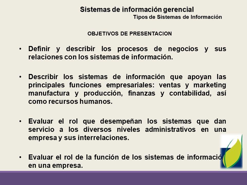 Sistemas de información gerencial OBJETIVOS DE PRESENTACION
