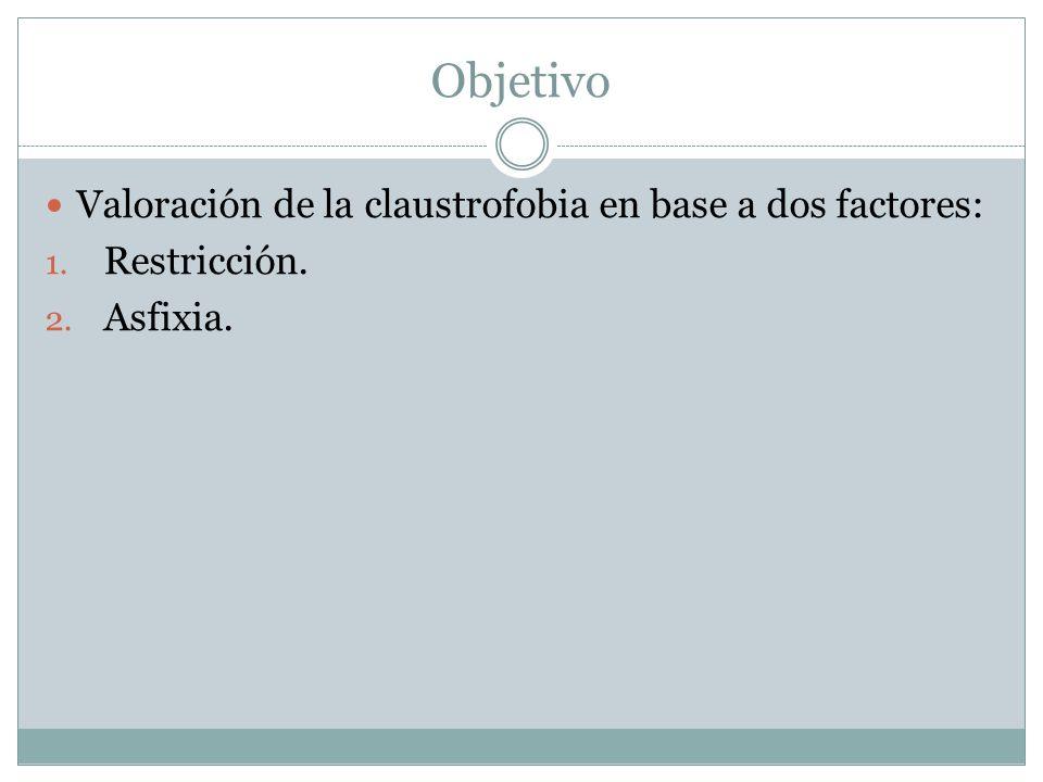 Objetivo Valoración de la claustrofobia en base a dos factores: