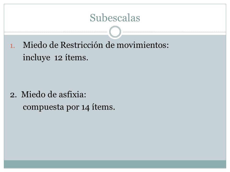 Subescalas Miedo de Restricción de movimientos: incluye 12 ítems.