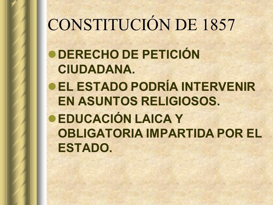 CONSTITUCIÓN DE 1857 DERECHO DE PETICIÓN CIUDADANA.
