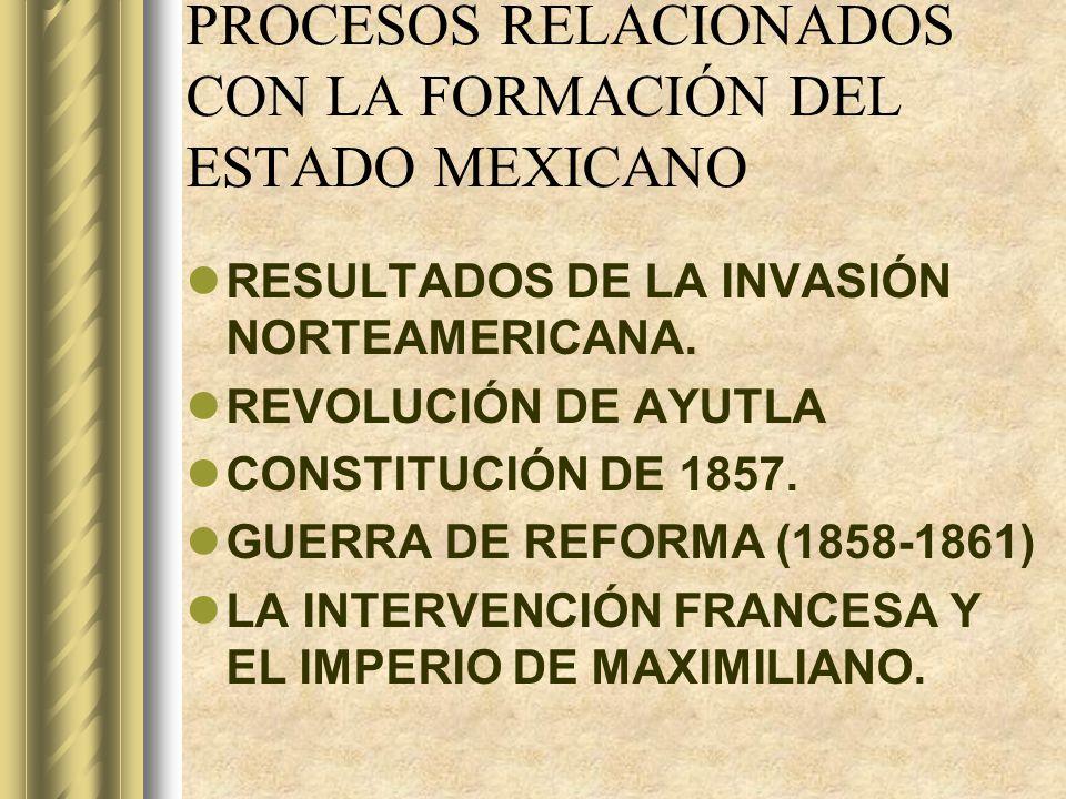 PROCESOS RELACIONADOS CON LA FORMACIÓN DEL ESTADO MEXICANO