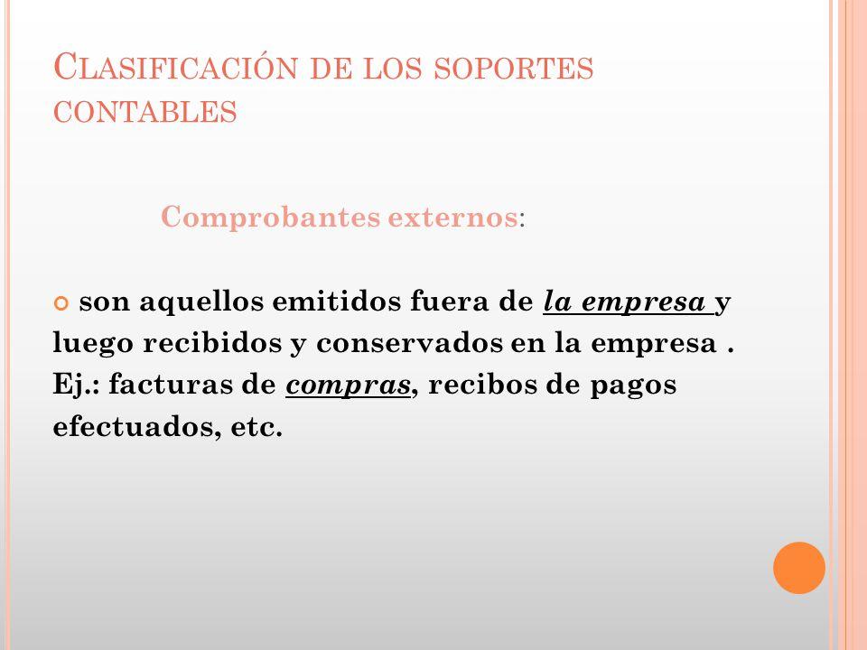 Clasificación de los soportes contables