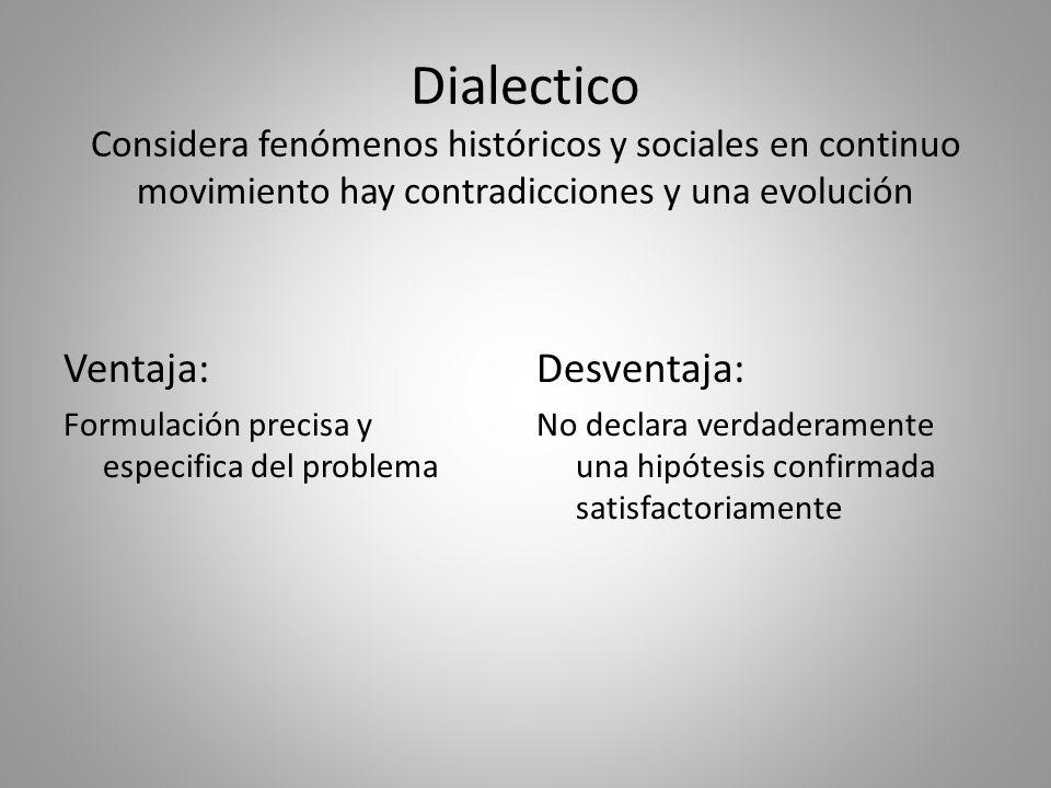 Dialectico Considera fenómenos históricos y sociales en continuo movimiento hay contradicciones y una evolución
