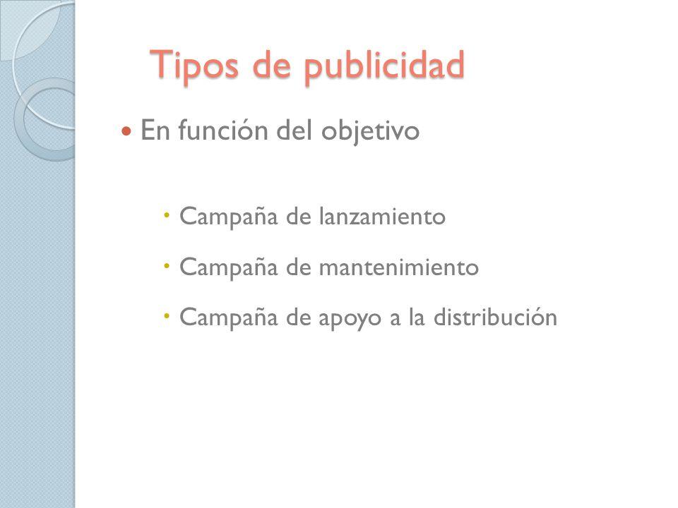 Tipos de publicidad En función del objetivo Campaña de lanzamiento