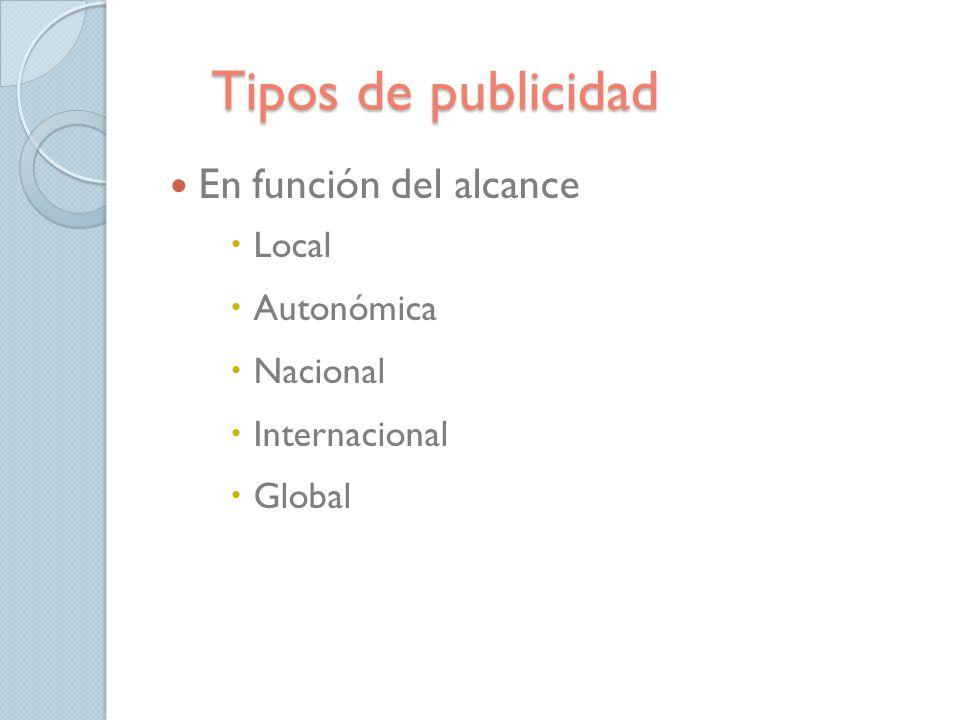 Tipos de publicidad En función del alcance Local Autonómica Nacional