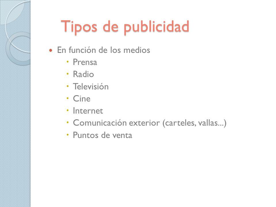 Tipos de publicidad En función de los medios Prensa Radio Televisión