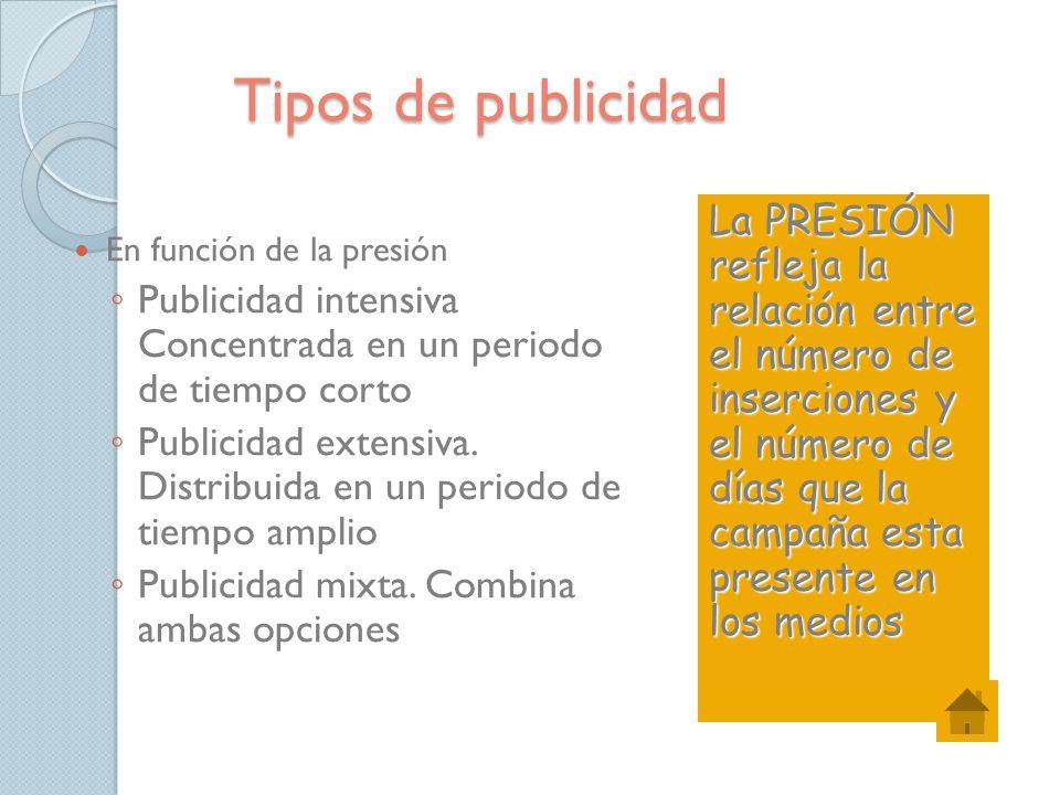 Tipos de publicidad La PRESIÓN refleja la relación entre el número de inserciones y el número de días que la campaña esta presente en los medios.
