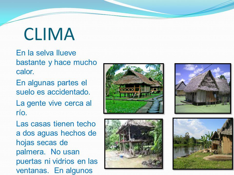 CLIMA En la selva llueve bastante y hace mucho calor.
