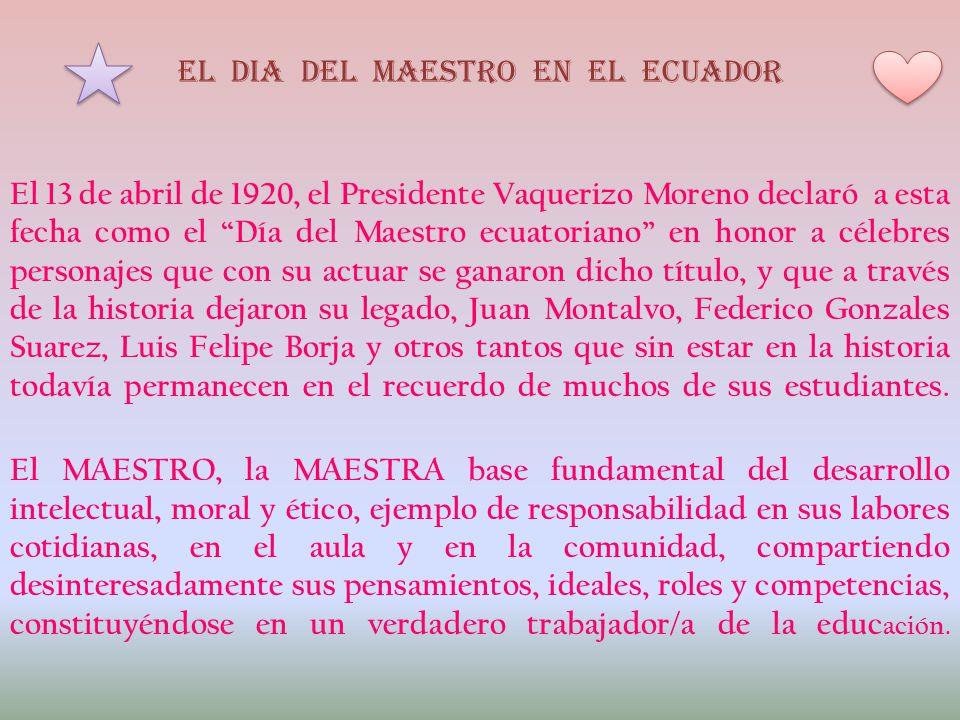 EL DIA DEL MAESTRO EN EL ECUADOR