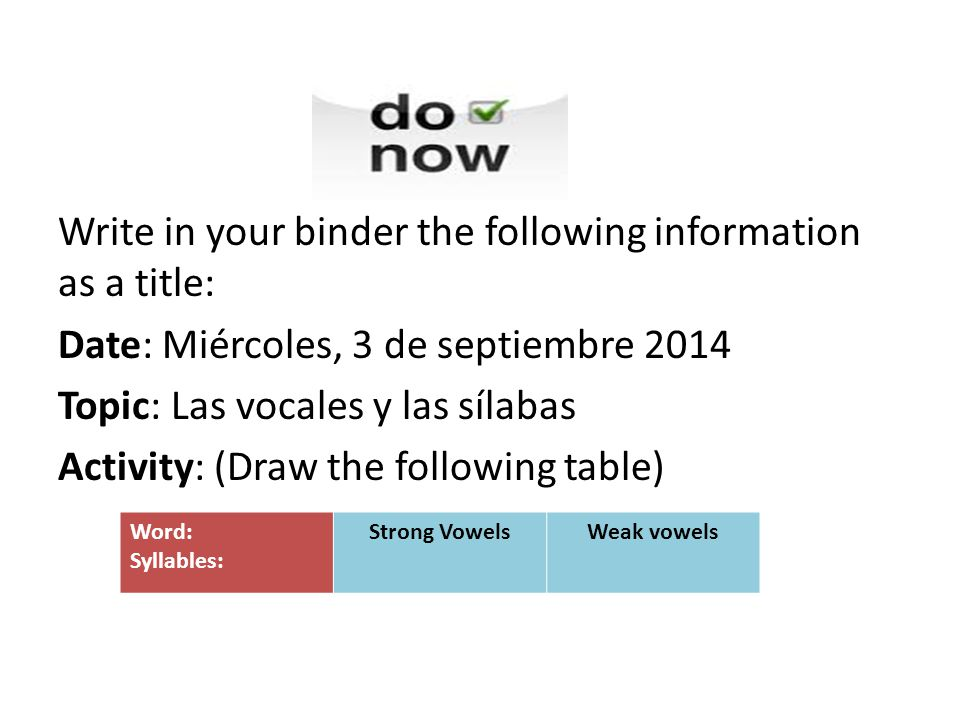 Write in your binder the following information as a title: Date: Miércoles, 3 de septiembre 2014 Topic: Las vocales y las sílabas Activity: (Draw the following table)