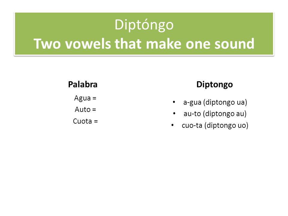Diptóngo Two vowels that make one sound