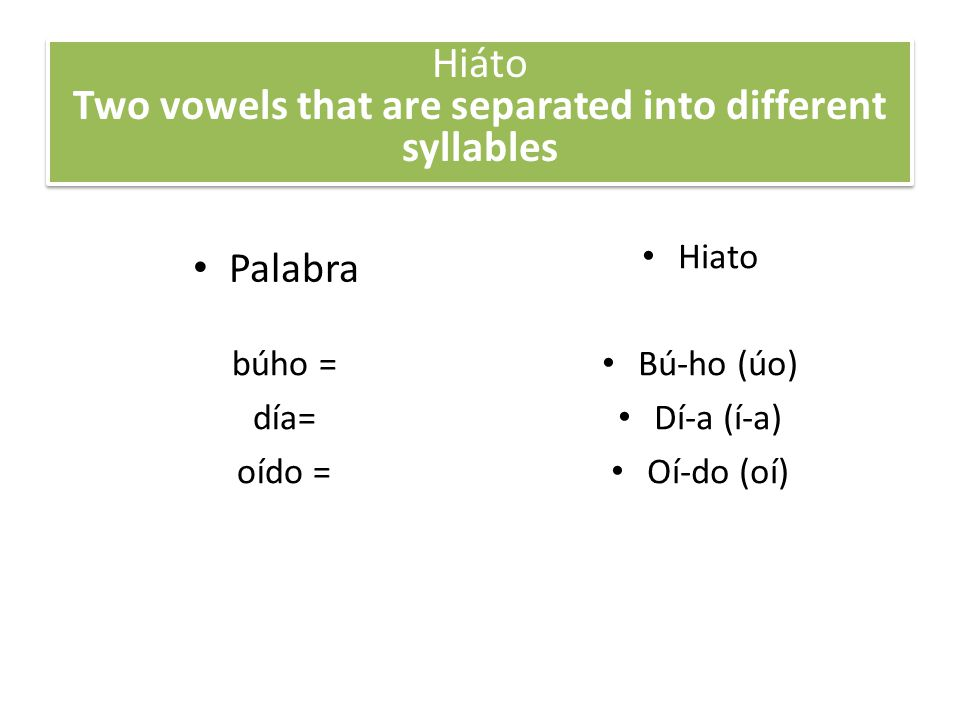 Hiáto Two vowels that are separated into different syllables