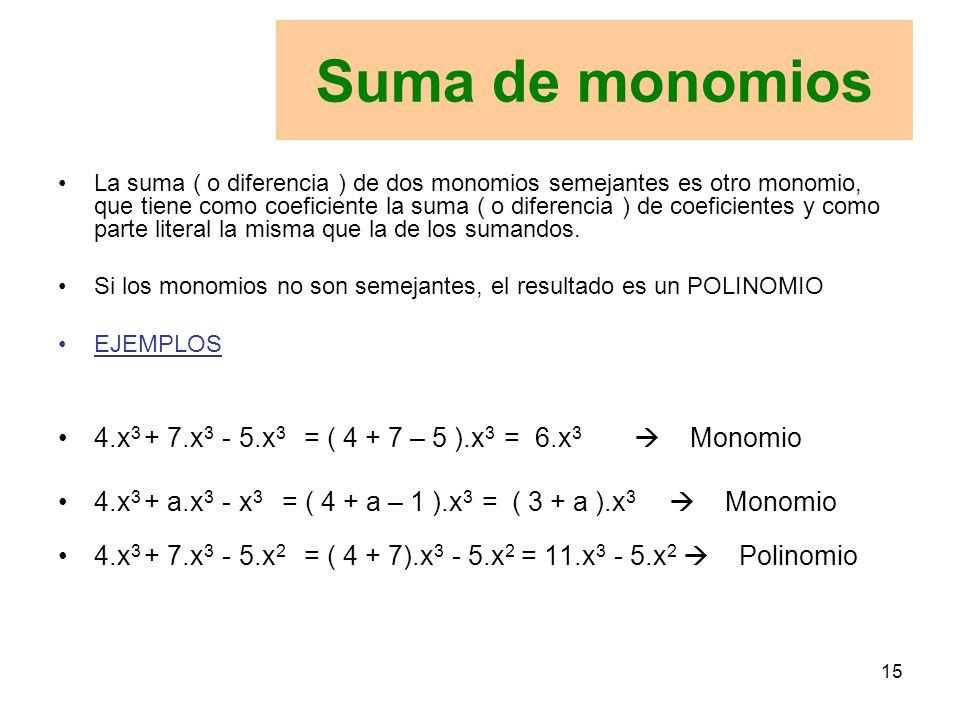 Suma de monomios