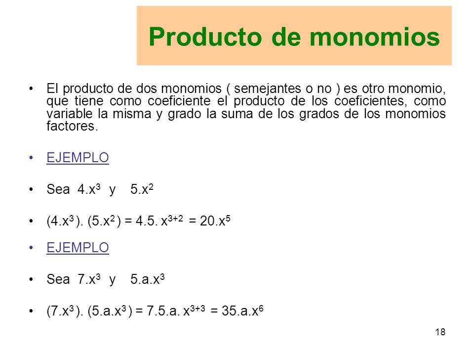 Producto de monomios
