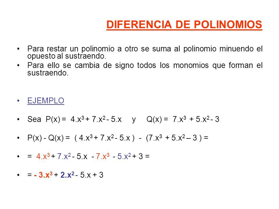 DIFERENCIA DE POLINOMIOS