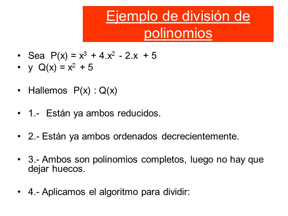 Ejemplo de división de polinomios