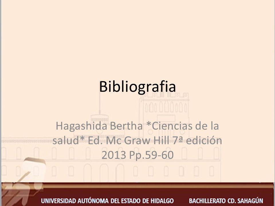 Bibliografia Hagashida Bertha *Ciencias de la salud* Ed. Mc Graw Hill 7ª edición 2013 Pp.59-60