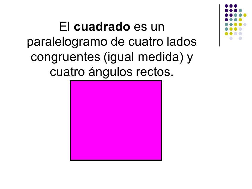 El cuadrado es un paralelogramo de cuatro lados congruentes (igual medida) y cuatro ángulos rectos.