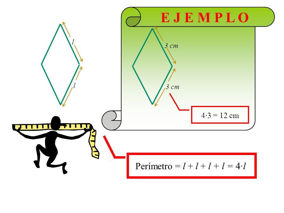 E J E M P L O l 3 cm 3 cm 4·3 = 12 cm Perímetro = l + l + l + l = 4·l