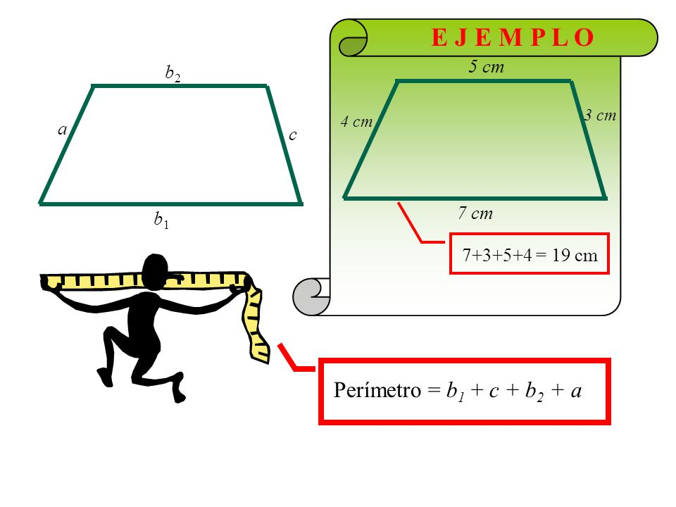 E J E M P L O Perímetro = b1 + c + b2 + a 5 cm b2 a c 7 cm b1