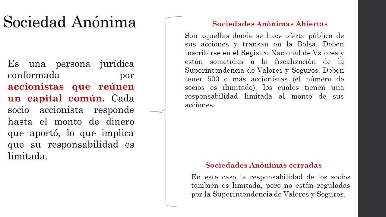 Sociedad Anónima Sociedades Anónimas Abiertas.