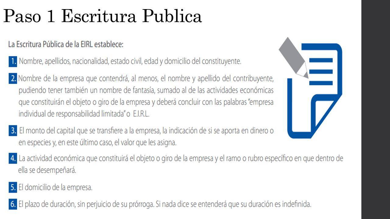 Paso 1 Escritura Publica