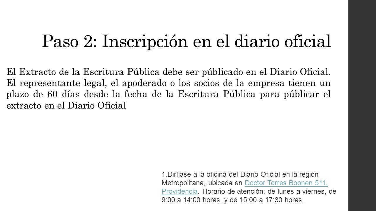 Paso 2: Inscripción en el diario oficial