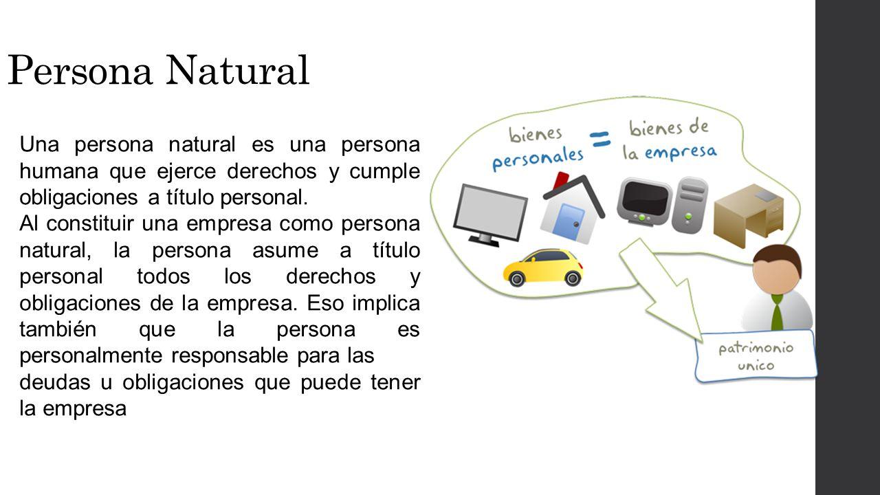 Persona Natural Una persona natural es una persona humana que ejerce derechos y cumple obligaciones a título personal.